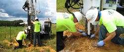 ATI Drilling personnel work with HydroGeoLogic field project managers at various sites